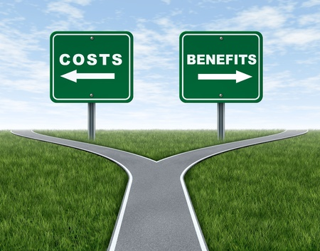 business metaphore: Costs and benefits dilemma at a cross road or forked highway representing the difficult choice between choosing negative or positive outlook. Stock Photo