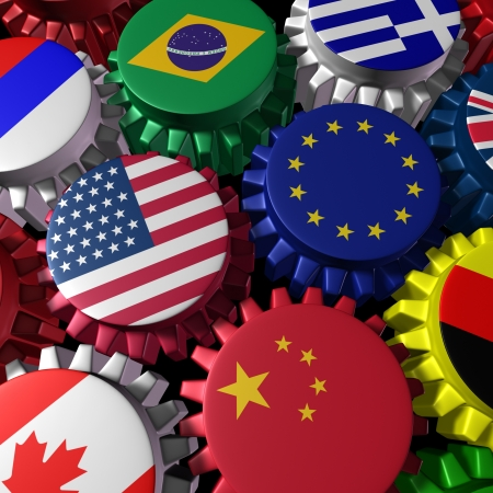 global currencies: Global world economy machine with U.S.A and Europe  in the center represented by gears and cogs with the countries flags of Greece Russia China Canada Germany Brazil and Britain representing international trade and world imports and exporting industry. Stock Photo