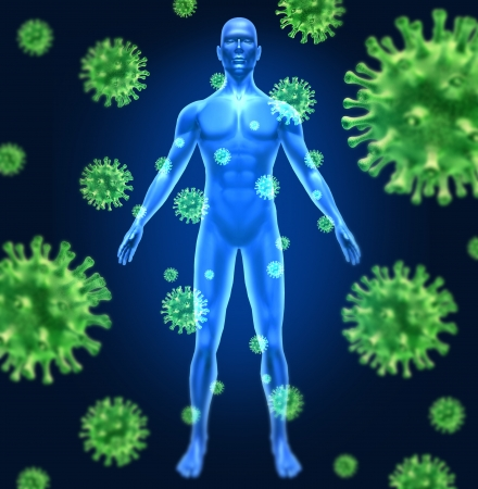 Human virus infection medical symbol represented by a group of green bacterial intruder cells causing sickness and disease to healthy patient with a man standing being infected by the illness.