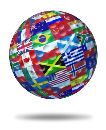 golf tournament: International golf tournament champion symbol represented by a golf ball with the flags of the world countries showing the concept of global golfing sports competion winning and world golf course  game activity.