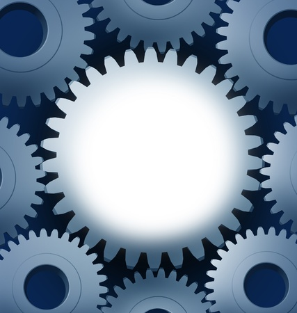 blank center: Industry and manufacturing with a blank center and a close-up of Machine Gears and cogs gowing round representing progress and industrial technology teamwork.