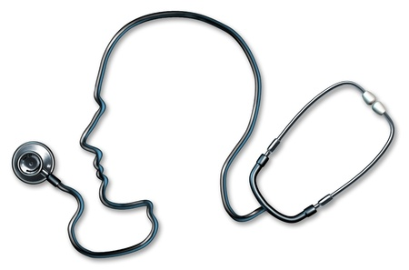 cognitive: Mental health and healthcare with stethoscope in the form of a human head and brain used in a clinic for a mental Medical Exam by doctors on a white background representing the concept of good neurological mind health and alzheimer depression medicine. Stock Photo