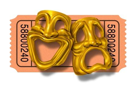 映画半券ゴールド喜劇と悲劇のマスクの笑顔と幸せ 1 つの顔を持つ 2 つの演劇的な式で表される記号別の悲しい、劇場や映画館入場入場料のシンボ