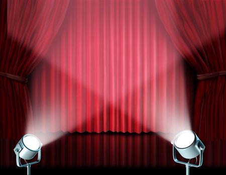 feature films: Theater stage with spotlights on red velvet cinema curtain and drapes representing the entertainment communications concept of an important announcement in a rich cinema and theater environment. Stock Photo