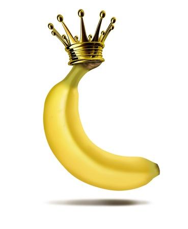 Máximo dirigente del plátano jefe humor símbolo divertida que ofrece una fruta amarilla tropical, con una corona de oro en la parte superior que representa el concepto de liderazgo visionario y ganador ceo que ha llegado a la cima del éxito.