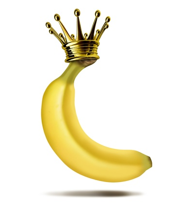 Top banana Marktführer Boss, witzig, lustig Symbol mit einem gelben tropischen Früchten mit einer goldenen Krone auf, die das Konzept von Führung und visionären CEO Gewinner, die an der Spitze der Erfolg gestiegen ist.