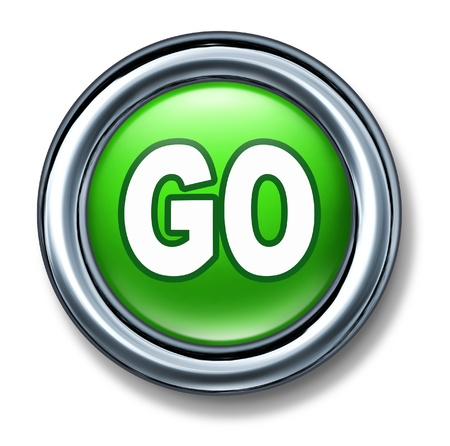 button: button go green isolated metal rim Stock Photo