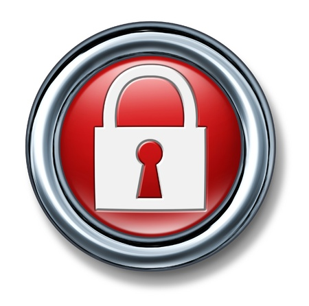 secret code: button push select red Firewall Network Security technology symbol icon lock key code secret password enter open hacker locked Stock Photo