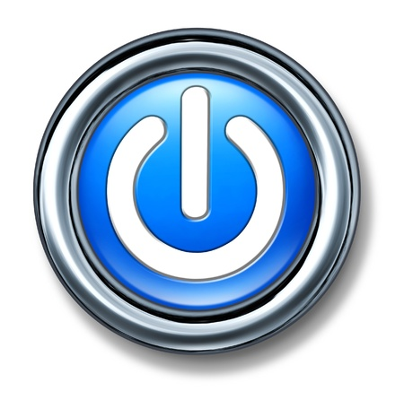 shutdown: button power on off isolated blue Stock Photo