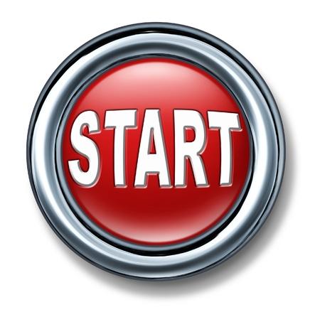 empezar: botón de inicio ir adelantado mover comenzar la ignición del motor de chispa marco aislado metal rojo Foto de archivo