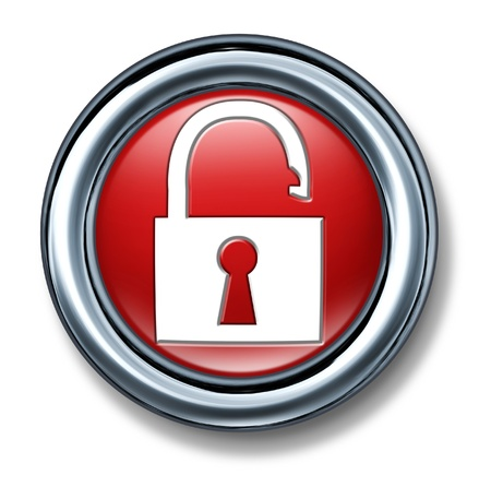button push select red Firewall Network vulnerable Security technology symbol icon lock key code secret password enter open hacker unlocked Stock Photo - 11155868