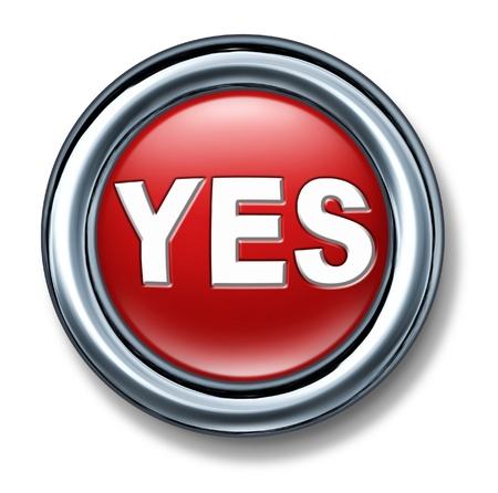 vote: button yes select vote decision red OK isolated
