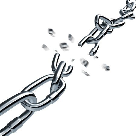 cadena rota: Conexión de la cadena de romper un enlace roto desconectado tira símbolo de negocio