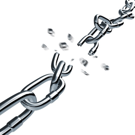 ketting breken gebroken link ontkoppeld Verbindingsspec Pulling zakelijke symbool