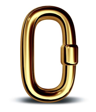 cadenas: Eslab�n de la cadena de oro como una fuerza de seguridad solo s�mbolo icono de negocios financieros Foto de archivo