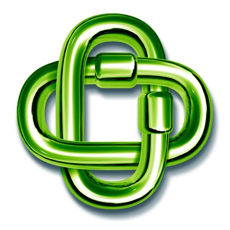 linked: Green chain links linked together to form a symbol for the environmental movement unity and recycling team