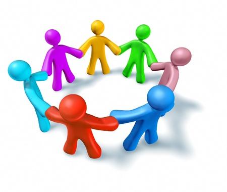Rainbow coalition symbol representing teamwork and partnership.