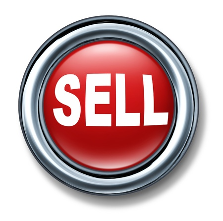 sell: Sell button isolated with metal chrome frame red Stock Photo