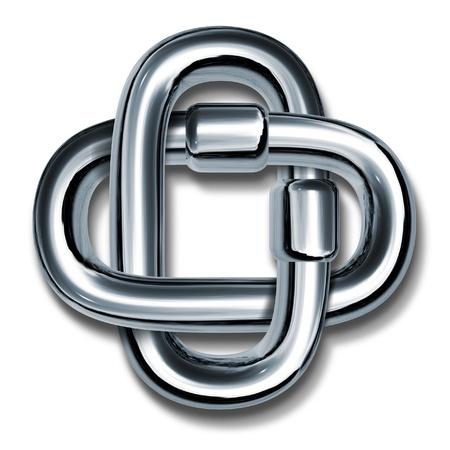 lien: Maillons de chaîne en métal reliés entre eux pour former un symbole de la croix représente la force l'unité et le travail d'équipe travaillant ensemble comme une seule unité.