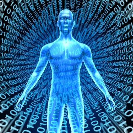 Artificial intelligence showing a human in Cyberspace with digital binary code background representing the high tech computing technology that thinks and has brain function like man like talking robot smart phones and computers. Banco de Imagens