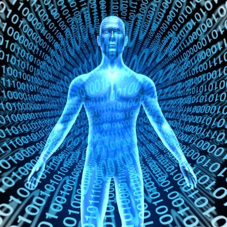 L'intelligence artificielle montrant un homme dans le cyberespace avec un fond code binaire numérique représentant la technologie de l'informatique de haute technologie qui pense et dispose de la fonction du cerveau comme l'homme, comme les téléphones robot parlant intelligents et les ordinateurs. Banque d'images - 11221489