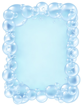 wet cleaning: Bubbles frame and transparent bath soap sud  bubble composition  with blank area in the middle for text with bunch of foam soap suds in many circular sizes in the air floating as clean blue symbols of bath washing and freshness.