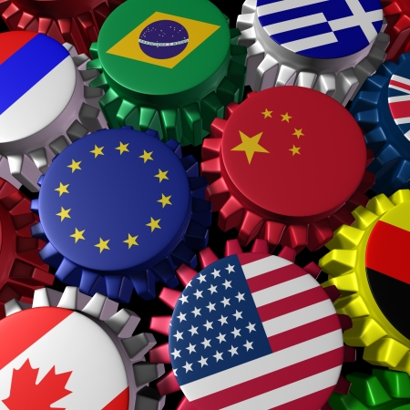Global world economy machine with China and Europe  in the center represented by gears and cogs with the countries flags of Greece Russia U.S.A. Canada Germany Brazil and Britain representing international trade and world imports and exporting industry. Stockfoto