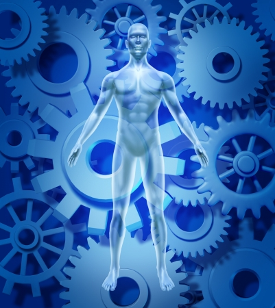 Human health and biology symbol showing a figure with gears and cogs representing the medical healthcare concept of healthy organ function of the body and mind free of disease and illness due to pharmaceutical medicine cures. Archivio Fotografico