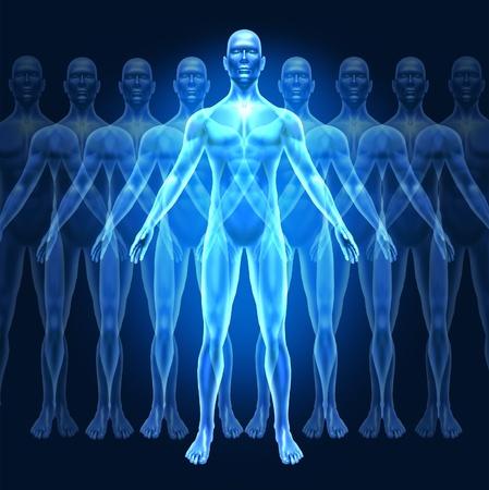 crecimiento personal: El desarrollo del crecimiento humano y el s�mbolo de liderazgo representado por un ser humano con graduales bienestar fases de crecimiento que muestra el concepto de la educaci�n y la fuerza interior personal. Foto de archivo
