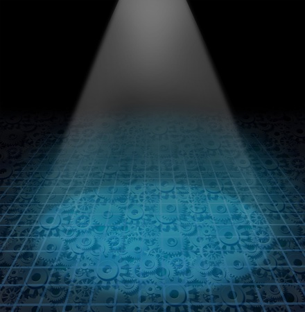 featured: Industrial manufacturing featured background showing a spot light shining and glowing on a floor with a grid and gears and cogs showing engeneering and mechanical machine parts moving to create products and services.