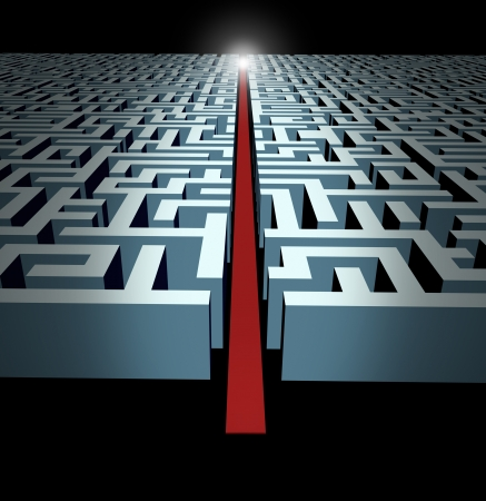 solution: Leadership and strategy through business challenges and obstacles represented by a maze and labyrinth with a clear solution shortcut path opened with a red velvet carpet to lead the way to success and victory. Stock Photo
