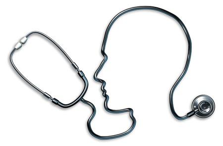 Geestelijke gezondheid met een stethoscoop in de vorm van een menselijk hoofd en de hersenen gebruikt worden in een kliniek voor een mentale medisch onderzoek door artsen op een witte achtergrond die het concept van een goede neurologische geest gezondheid en ziekte van Alzheimer depressie geneeskunde. Stockfoto
