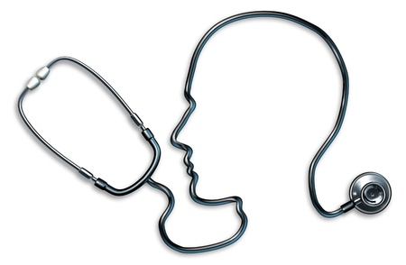 cognitive: Mental health with stethoscope in the form of a human head and brain used in a clinic for a mental Medical Exam by doctors on a white background representing the concept of good neurological mind health and alzheimer depression medicine.