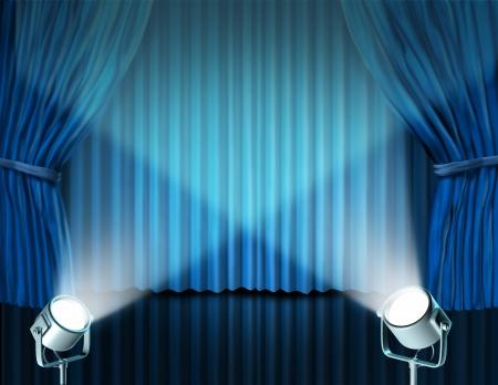 telon de teatro: Teatro escenario con focos en terciopelo azul cortina de cine y cortinas que representa el concepto de entretenimiento de comunicación de un anuncio importante en un cine rico y el medio ambiente del teatro.