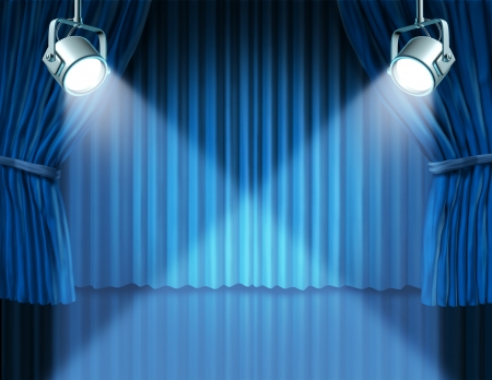 feature: Theater stage with spotlights on blue velvet cinema curtain and drapes representing the entertainment communications concept of an important announcement in a rich cinema and theater environment.