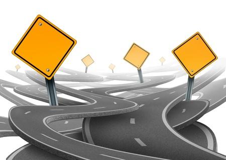cruce de caminos: Estancia en el s�mbolo que representa por supuesto dilema y el concepto de perder el control de onesgoals y viaje estrat�gico elegir el camino correcto estrat�gico de la empresa con un blanco amarillo las se�ales de tr�fico las carreteras y autopistas enredado en una direcci�n confusa. Foto de archivo
