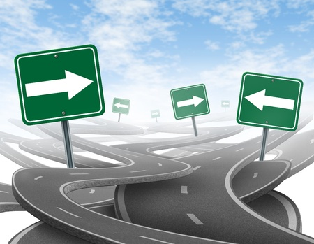 business dilemma: Staying on course symbol  representing dilemma and concept of losing control of onesgoals and strategic journey choosing the right strategic path for business with green traffic signs tangled roads and highways in a confused direction with arrows.