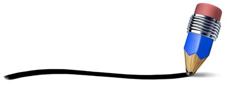 geschwungene linie: Blauen Stift mit einer horizontalen Linie schriftlich Schlaganfall auf einer leeren wei�en Hintergrund, die das Konzept der Bildung und der Freiheit des k�nstlerischen Schreiben und Zeichnen mit rosa Radiergummi und Holz Chrom Textur.