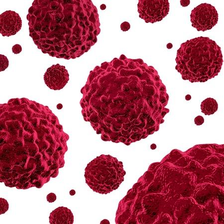 rak: Komórki nowotworowe rozprzestrzeniania i roÅ›nie jak zÅ'oÅ›liwych komórek w ludzkim ciele spowodowane przez Å›rodowiskowe czynniki rakotwórcze i genetyczne przyczyny jak guzy i uszkodzenia komórek sÄ… traktowane leczyć choroby na biaÅ'ym tle. Zdjęcie Seryjne