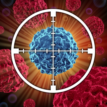 killing cancer: Treatment for cancer cells spreading and growing as malignant cells in a human body caused by environmental carcinogens and genetics showing a target aiming at the cancerous cell.