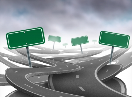 Stay on course symbol  representing dilemma and concept of losing control of onesgoals and strategic journey choosing the right strategic path for business with a blank yellow traffic signs tangled roads and highways in a confused direction. Stock Photo - 11221505