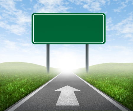 backgrounds: Clear goals on an open straight road highway sign with green grass and asphalt street representing the concept of journey to a focused destination resulting in success and happiness with an arrow on the pavement.