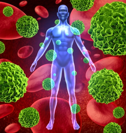 Human body with cancer cells spreading and growing through the body via red blood as malignant cells due to environmental carcinogens and genetic tumors and cell damage. photo