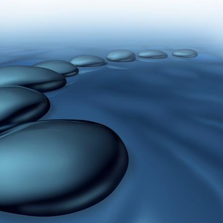 Pebbles in het water als een symbool van rust en balans in spiritualiteit en welzijn zen als een gezonde levensstijl voor alternatieve meditatie geneesmiddel in een spa-behandeling met mist, zoals mist en stoom. Stockfoto