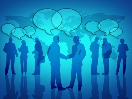 Social business networking symbool met teamwork en sociale bijeenkomsten met een wereldkaart op de achtergrond. Stockfoto