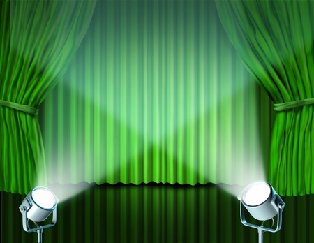feature films: Theater stage with spotlights on green velvet cinema curtain and drapes representing the entertainment communications concept of an important announcement in a rich cinema and theater environment.