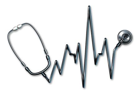 estetoscopio corazon: Estetoscopio electrocardiograma salud s�mbolo en forma de una l�nea de vida ECG utilizados en una cl�nica para un examen m�dico humano de los m�dicos sobre un fondo blanco que representa el concepto de la buena salud del cuerpo f�sico y el diagn�stico de los s�ntomas de los pacientes.
