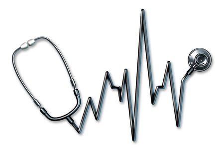 Stethoscope EKG healthcare symbol in the form of a ECG life line used in a clinic for a human medical Exam by doctors on a white background representing the concept of good physical body health and diagnosis of a patients symptoms.