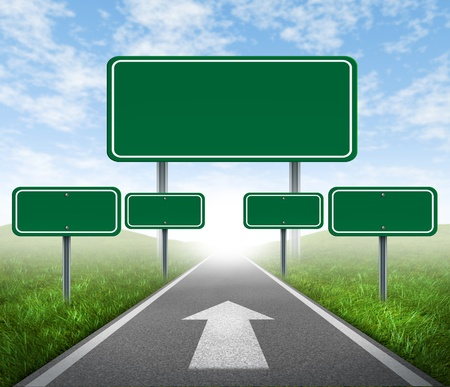 highway signs: Strategy road signs on a highway with green grass and asphalt street representing the concept of management of business assets journey to a focused destination resulting in success and happiness. Stock Photo