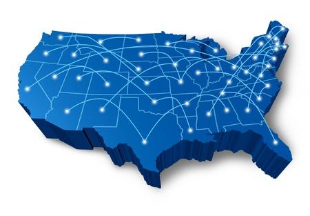 Etats-Unis carte 3D symbole technologie réseau de communication représenté par un des États-Unis bleu dimensions avec la connexion Internet de câbles à fibres optiques avec des cellules qui brille points du centre. Banque d'images - 11221498